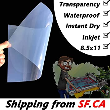 8.5x11,100 Sheets,Waterproof Inkjet Instant-Dry Silk Screen Printing Transparency Film 5mil,It is Ideal for Water-Based dye and Pigment Inkjet Printing Printers EPSON,HP,Canon Printers