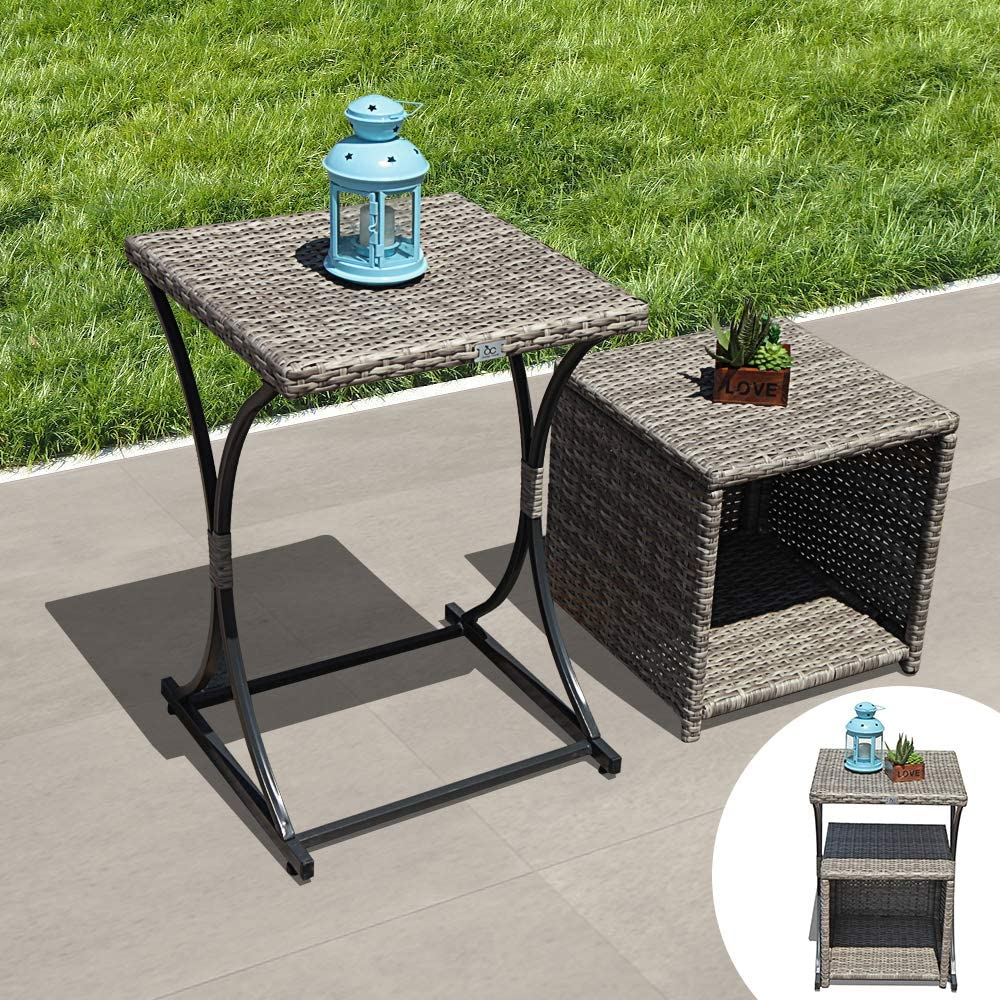 OC Orange-Casual 2 Pcs Patio Wicker Nesting Tables Outdoor Sofa Snack Side End Side Table Storage Function Garden Lawn Living Room, Grey Gradient