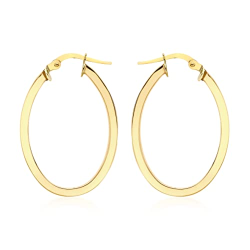 Carissima Gold 9ct Rose Gold Oval Creole Earrings
