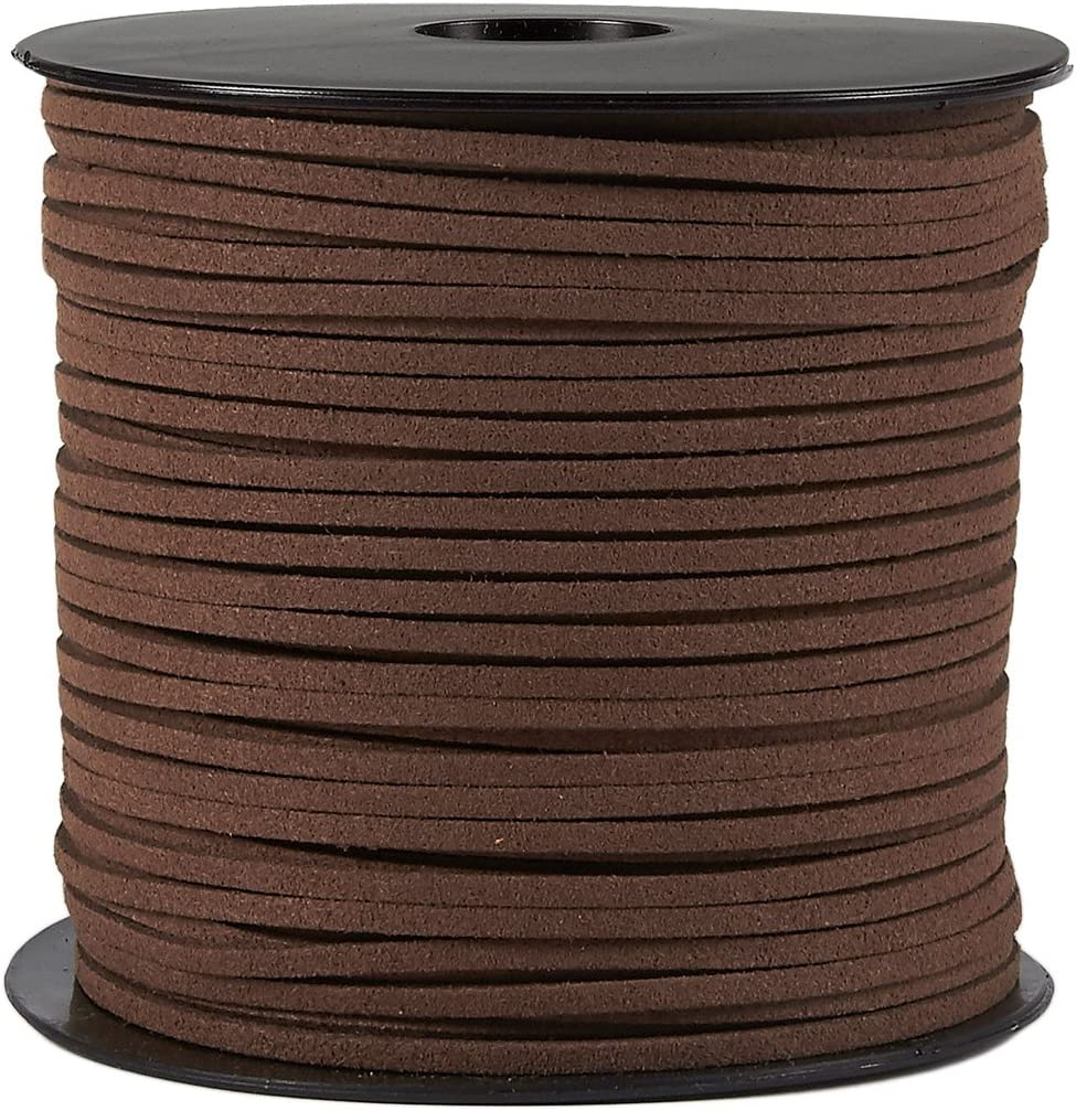 Juvale Faux cordón de Cuero - 100 Yardas del Cuero del Ante de la Correa Que rebordea la Cuerda, cordón de Cuero Plano de Cola, marrón, 0.08 Pulgadas de Ancho