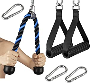Riiai Tricep Rope Cable Attachment with 2 Workout Handles for Pulley Machines + 3 Carabiner Clips,Cable Machine Attachments for Home Gym Pulldown System Accessories