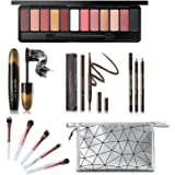 All in One Makeup Kit, Includes 12 Colors Naked Eyeshadow Palette, 5 Pcs Makeup Brush Set, Eyebrow Pencil, 2 Color Eyeliner P