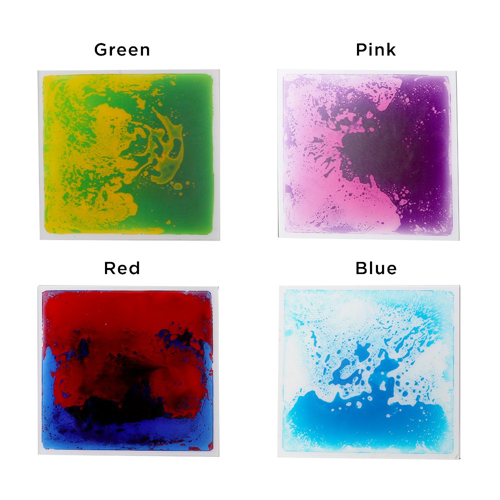 Fun and Function Gel Floor Tiles 4-Pack – Encourages Sensory Stimulation by Jumping or Stepping on Tiles, Ages 10+ Mos.