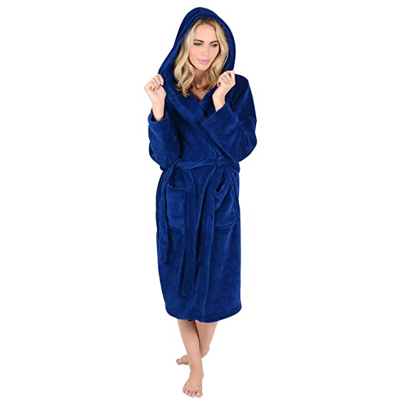 Ladies Coral Fleece Super Soft Thick Luxurious Bath Robe With Hood ...