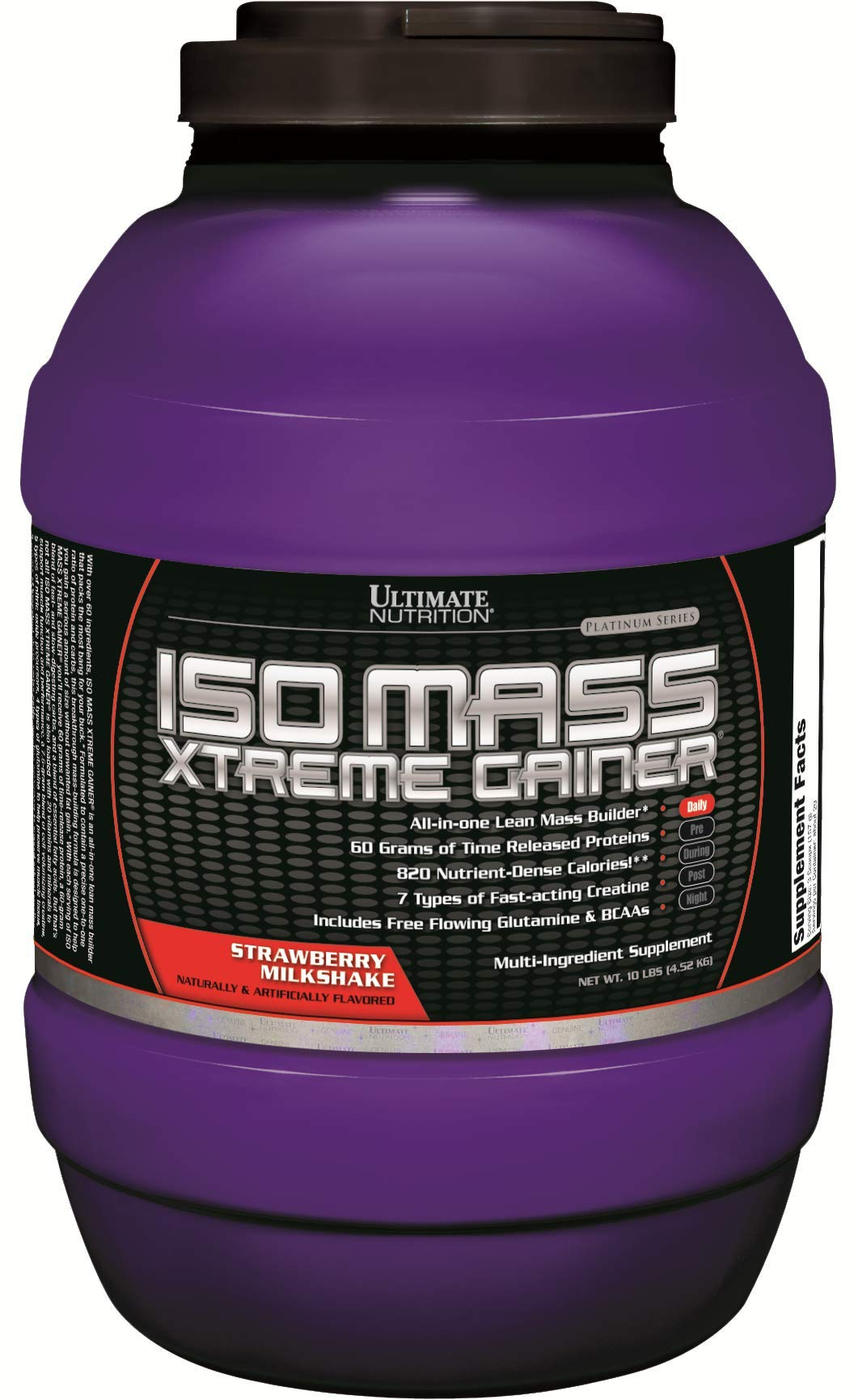 Ultimate Nutrition Iso Mass Xtreme Gainer Serious Weight and Lean Muscle Mass Protein Powder, Strawberry Milkshake, 30 Servings