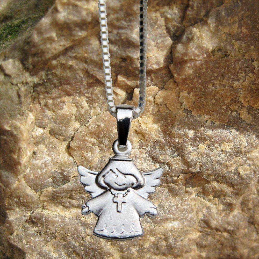 Taufe Kette ohne Gravur : Schutzengel mit Kreuz- Zur Geburt 925 Silber Anh/änger Schutzengel Kommunion oder Namenstag Konfirmation