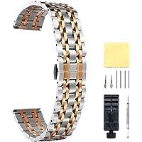 BINLUN Cinturino per Orologio in Acciaio Inossidabile,Colori: Oro/Argento/Nero/Oro rosa/Oro-argento/Rosa-argento,Taglie (da 10mm a 26mm)