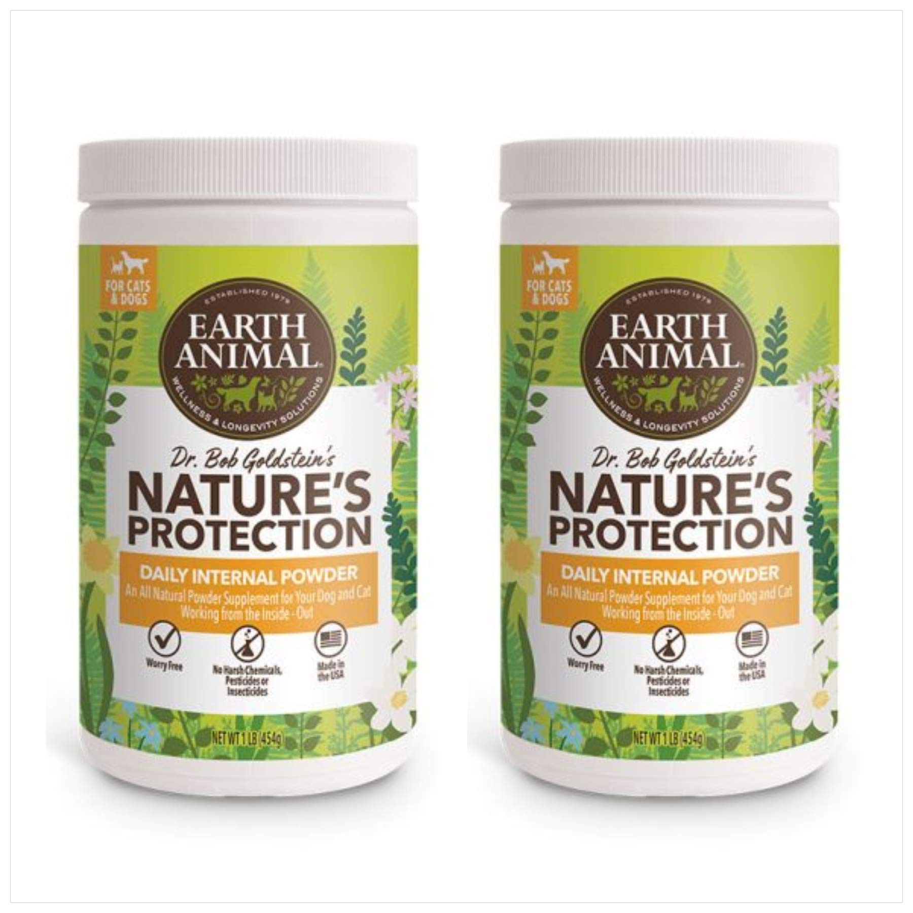 Earth Animal (2 Pack) Flea and Tick Internal Powder 1 Pound Each by Earth Animal