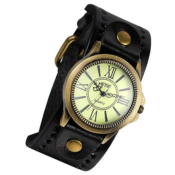 Lancardo Reloj Electrónico Retro con Dial de Números Romanos Pulsera Analógica de Movimiento Cuarzo Correa Ancha