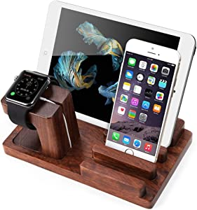 MOOZO Rosewood Multi-Device Desktop Dock Station Charger Holder Cradle Stand Compatible for iPhone 11 Pro Max XS XR XS MAX X 8 7 6 6S Plus iPad Mini Apple Watch/iWatch 2 3 4 Samsung S8 S7 Smartphone