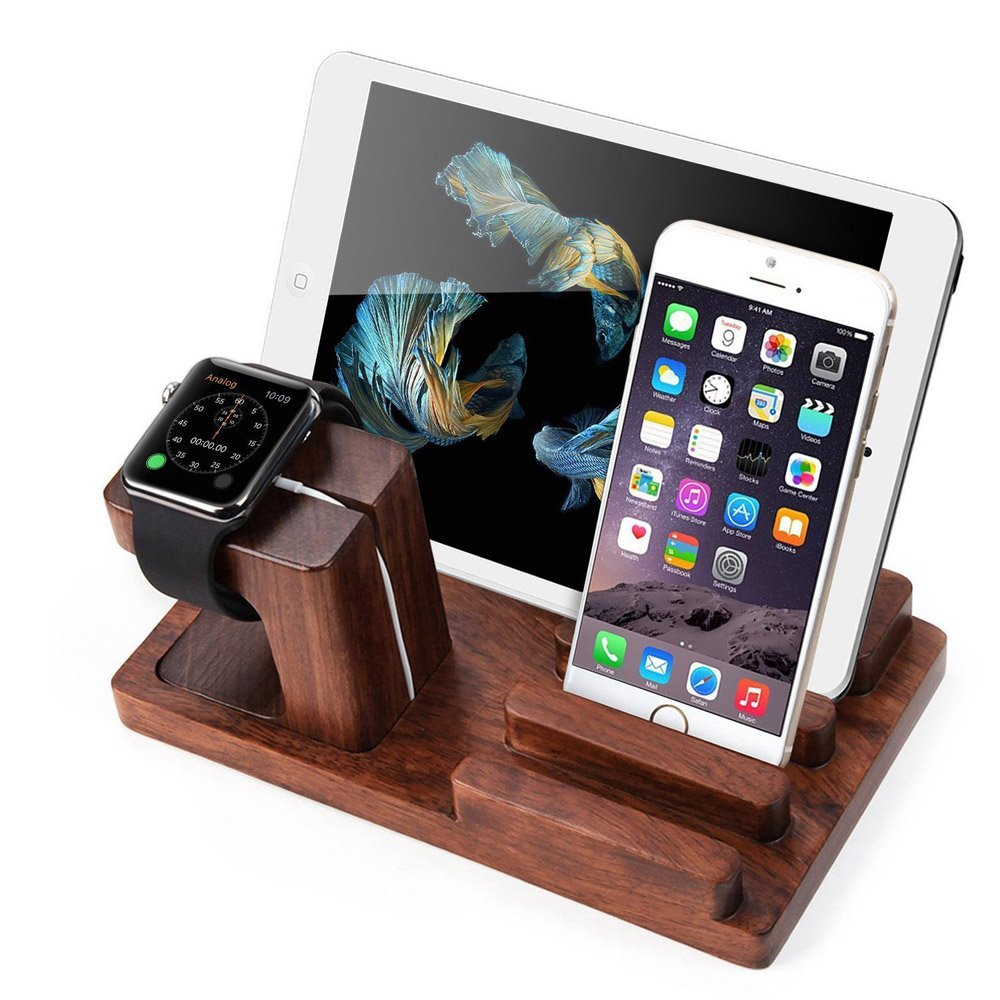 XPhonew Rosenholz Ladestand Aufladung Docking Station / Cradle / Halter / Ladegerät Stand / Handy Halterung für iPhone XS MAX XR X 8 7 6S Plus iPad Apple Watch 2 3 4 iWatch Samsung Smartphones Tablets Bild
