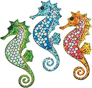 Maansfy Metal Seahorse Wall Decor Mosaic Glass Art Sculpture Hanging Decorations Set of 3 for Home Garden Bedroom Patio