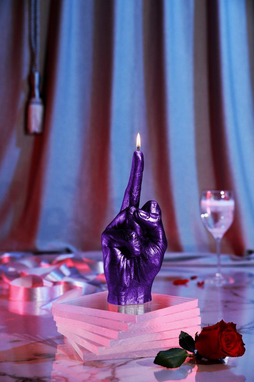 Candellana Candles 5902650675773 Middle Finger Candle, Violet Metallic