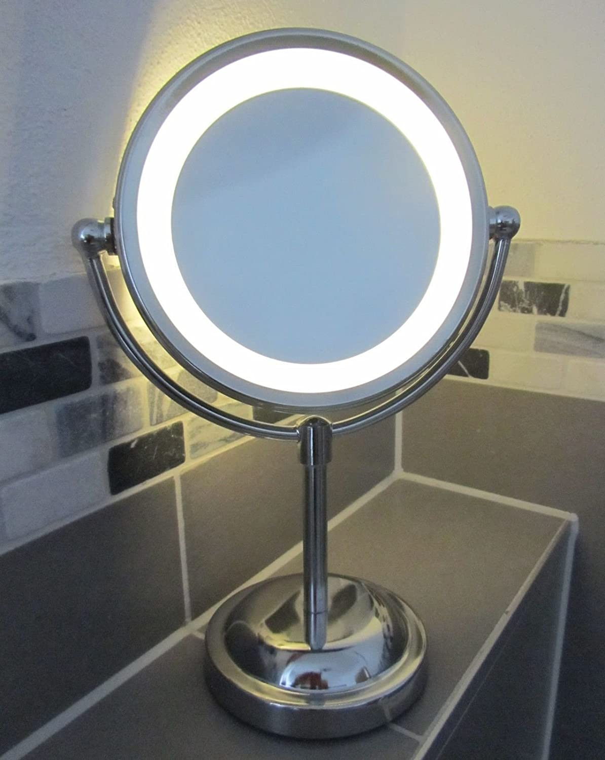 Round Magnifying LED Illuminated Bathroom Make Up Cosmetic Shaving Vanity Mirror Amazoncouk Beauty