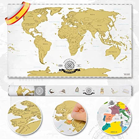 Goods & Gadgets Scrape Off World Map XXL - Mapa del Mundo para ...