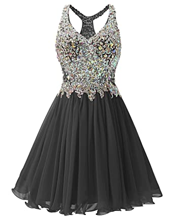 M Bridal Women s Rhinestones Illusion Bodice V-Neck Short Prom Homecoming  Dress Black Size 2 be0c553b3