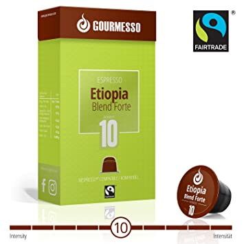 Gourmesso Ethiopia Blend Forte - 50 Nespresso Compatible Coffee Capsules- Fair Trade Coffee