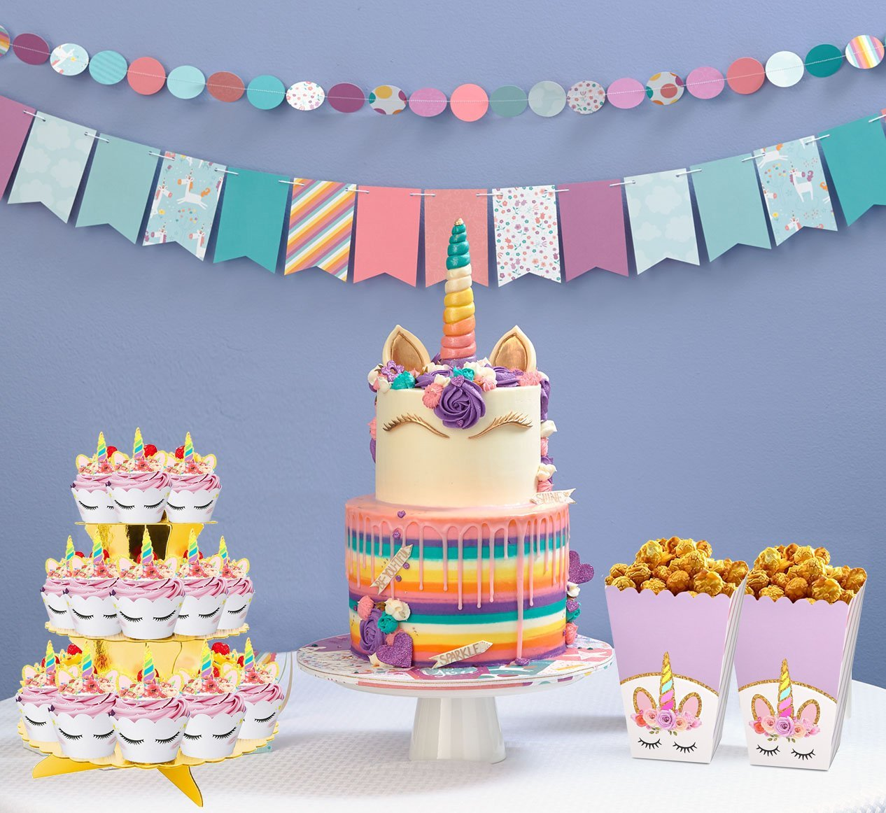 Rainbow Unicorn Cupcake Toppers and Wrappers w BONUS Gold Cupcake Stand - Themed Glitter Horn Cake Topper + Rainbow Wrapper DIY Baking Decorations Kit, Kids Birthday Party Supplies Accessories| 48pcs by Quality Party Supplies (Image #5)