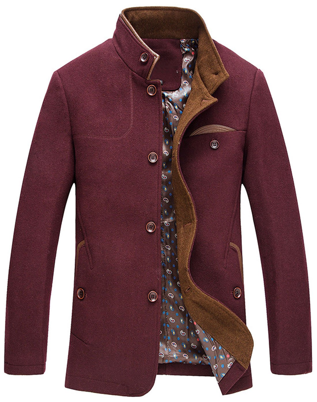 chouyatou Men's Gentle Band Collar Single Breasted Wool Blend Pea Coat (WineRed, Small) by chouyatou