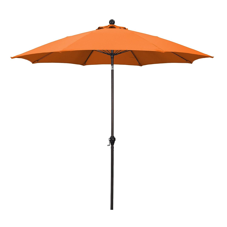 Amazon.com : California Umbrella 9u0027 Round Aluminum Pole Fiberglass Rib  Umbrella, Crank Open, Push Button 3 Way Tilt, Bronze Pole, Tuscan : Patio  Umbrellas ...