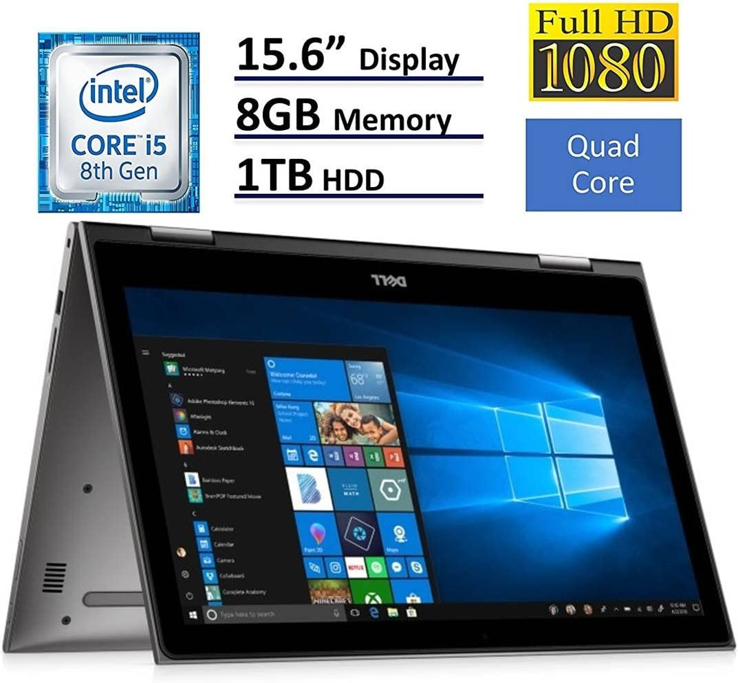 2018 Dell Inspiron 15 5000 Flagship 15.6 inch Full HD IPS Touchscreen 2-in-1 Laptop PC, Intel Core i5-8250U Quad-Core, 8GB DDR4, 1TB HDD, Bluetooth 4.2, 802.11ac, MaxxAudio Pro, Windows 10