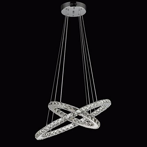 SEFINN FOUR Crystal Chandeliers Modern LED Ceiling Light Fixtures Flush Mount Pendant Lights Adjustable for Dining Room Living Room Kitchen Hallway Oval 2 Rings 15.8 23.6 White