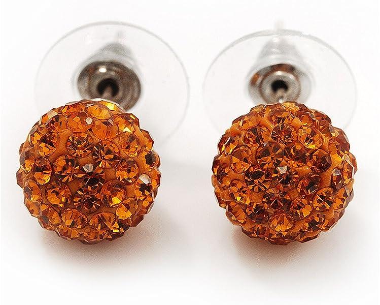 e2c3234cc732d Orange Diamante Ball Stud Earrings In Silver Plated Finish - 9mm ...