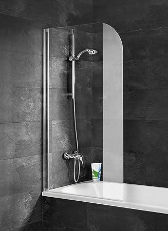 Schulte Pare bañera con tapa sin agujeros, mampara de bañera con Kit para pegar, pantalla de bañera plegable 80 x 140 cm, pare-douche 1 contraventana giratoria, vidrio transparente, perfil aspecto cromado: Amazon.es: