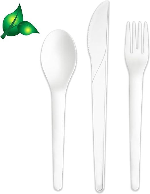 300 vajilla biodegradable para cubiertos y utensilios, 100 ...