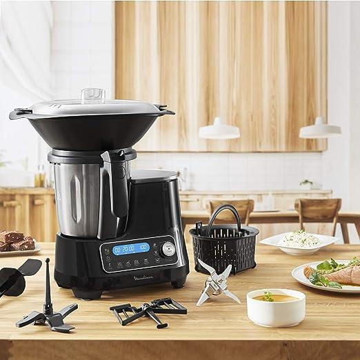 Moulinex ClickChef HF456810, Robot de Cocina multifunción, 5 programas automáticos, 3, 6L de Capacidad, Temperatura de 30 a 120ºC, 12 velocidades, 1400 W, 32 Funciones, recetario, báscula, vaporera: Amazon.es