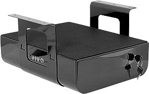 VIVO 15 inch Secure Under Desk Mounted Pull-Out Drawer for Office Desk, Lockable Sliding Storage Organizer for Sit Stand Workstation, Black (DESK-AC07LB)