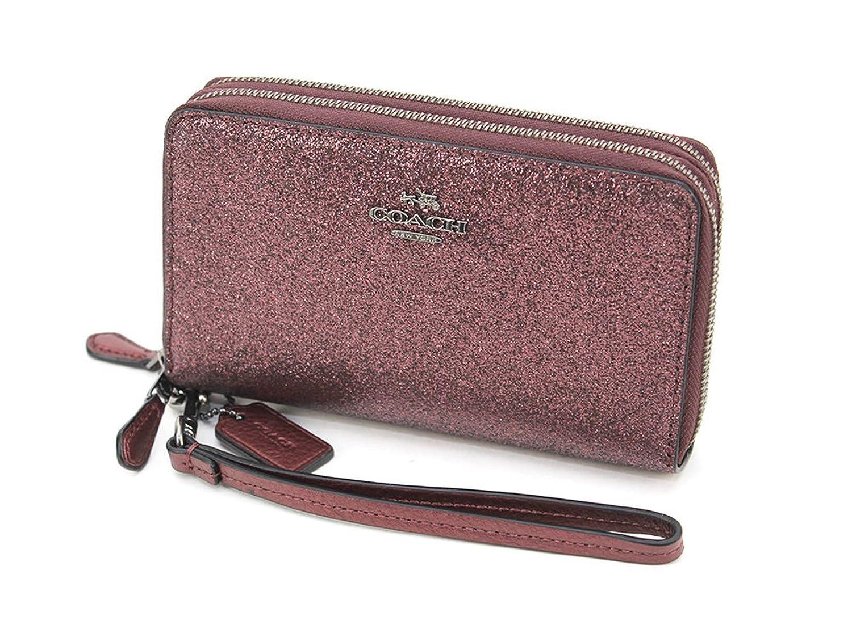 Coach Glitter Fabric Double Zip Phone Wallet Metallic Cherry - F53646
