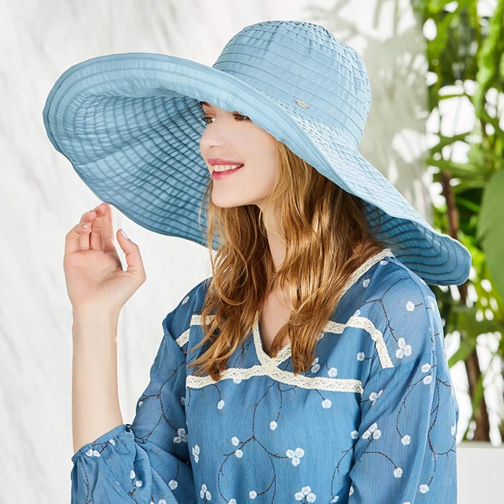 bluee Women's Wide Brim Beach Sun Hat Foldable Travel Outdoor Big Brim Hat, Ladies Hats Summer