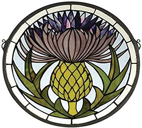 Meyda Tiffany 28436 Thistle Medallion Stained Glass Window, 17 Width x 17 Height