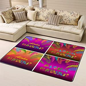 Randell Non Slip Doormat Night Party Variation Miami Beach Yellow Pink Palm Leaves for Living Room Bedroom 63 x 48 in