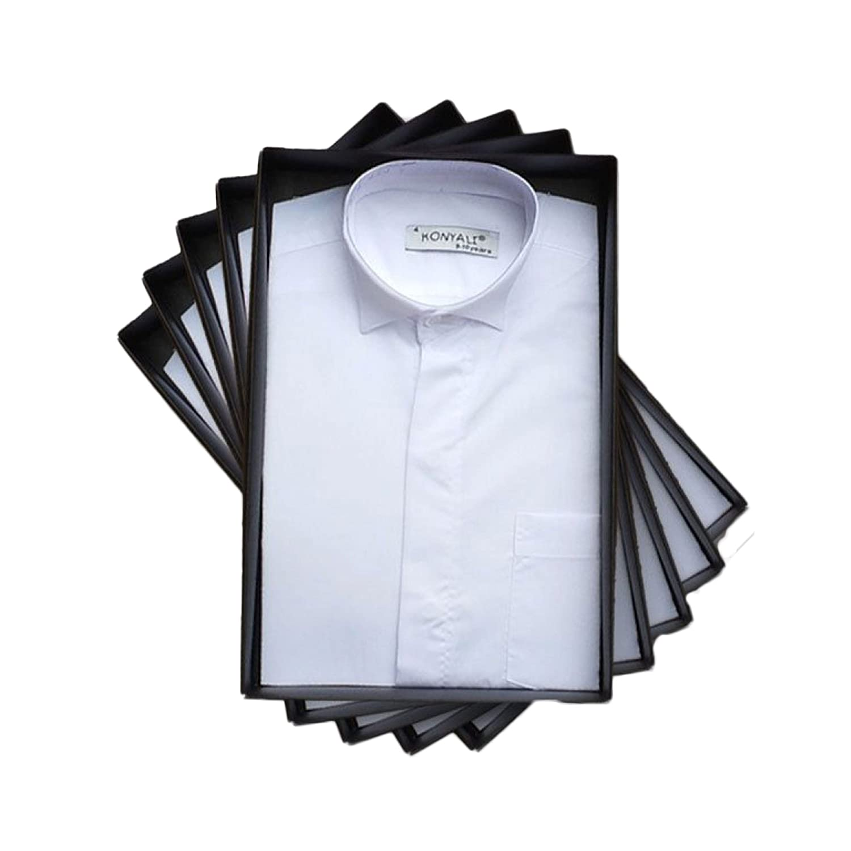 Boys Formal Cotton Blend Long Sleeve Wing Collar White Shirt