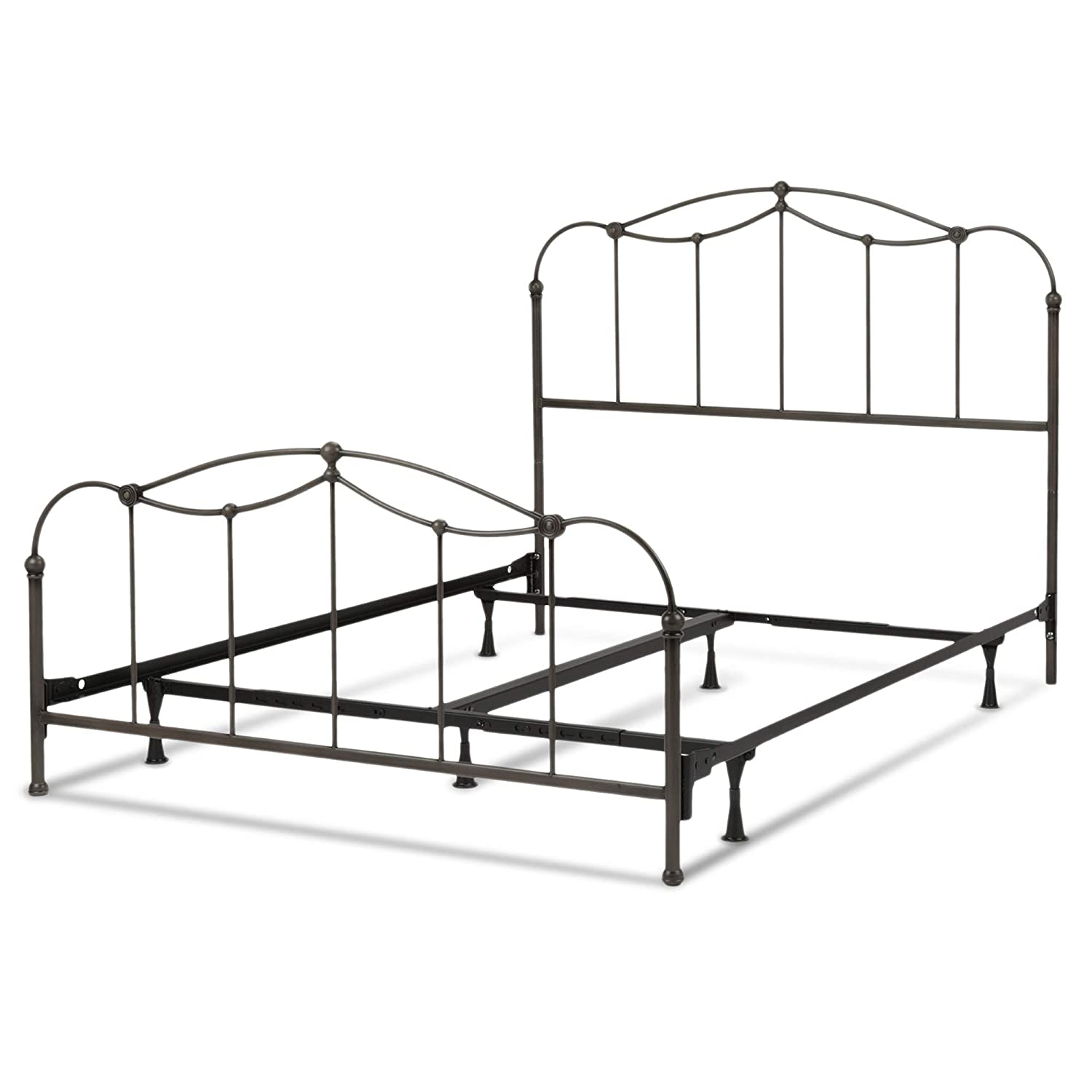 Leggett Platt Affinity Complete Metal Bed and Steel Support Frame with Spindle Panels and Detailed Castings, Blackened Taupe Finish, Full