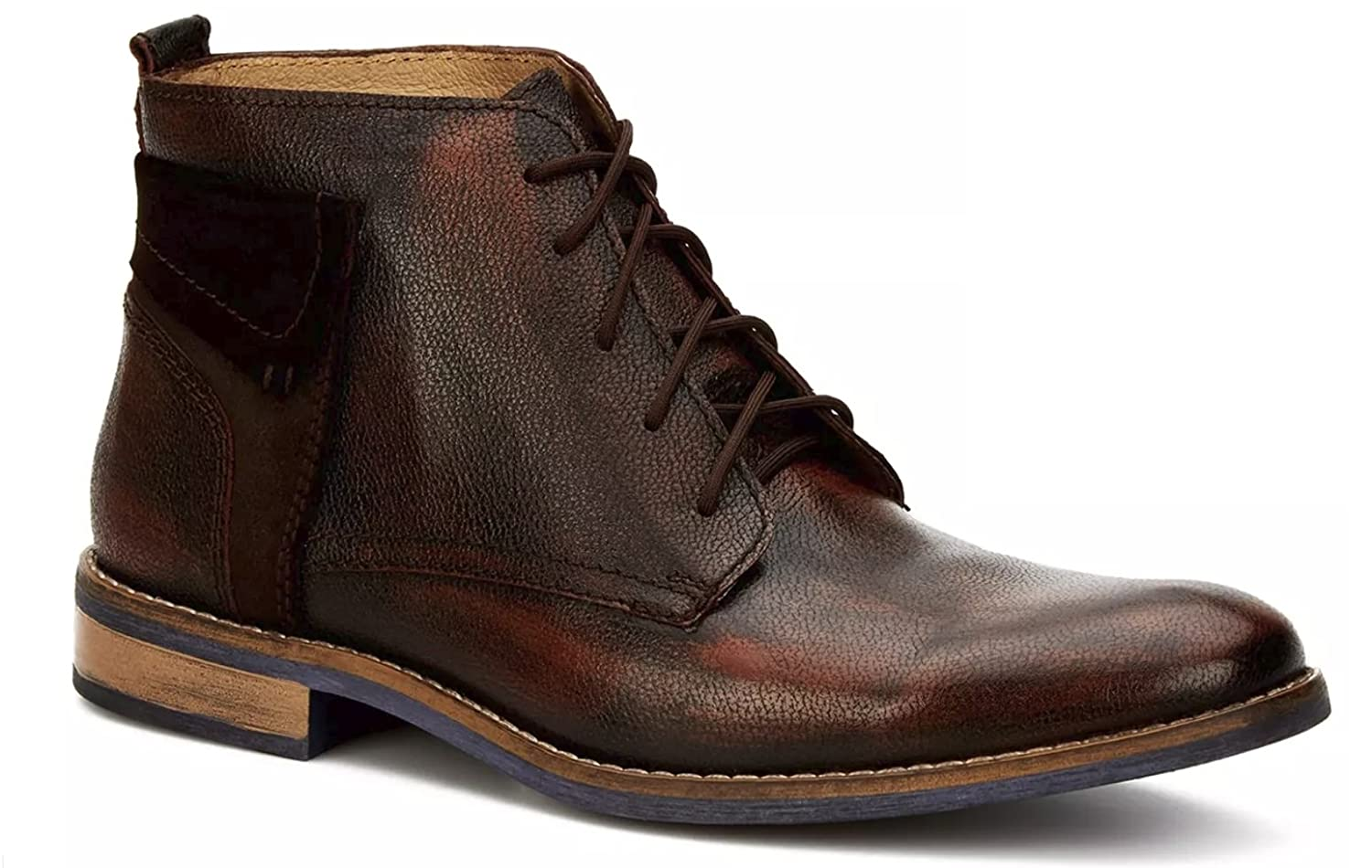 6601646dff Ferrrato Men's Chukka Brown Distressed Effect Genuine Leather Ankle ...