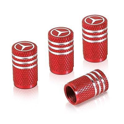 Qideloon Auto Tire Valve Caps,4pcs Aluminum Valve Stem Caps Universal fit for Car,Motorbike,Trucks,Bike and Bicycle (red): Automotive