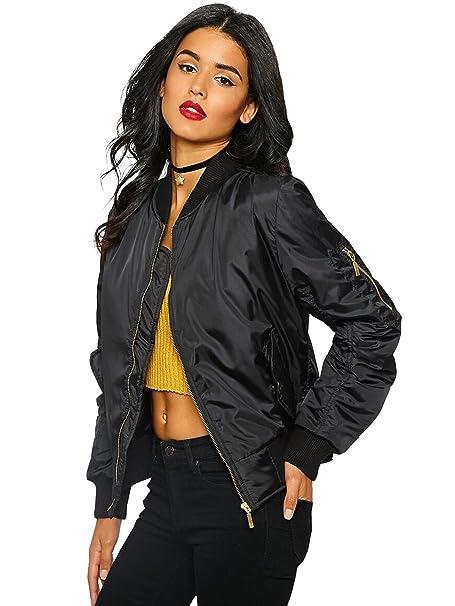 8e5e48949cf Women Vintage Bomber Jacket Classic Zip up Biker Jacket Stylish Padded Coat   Amazon.co.uk  Clothing