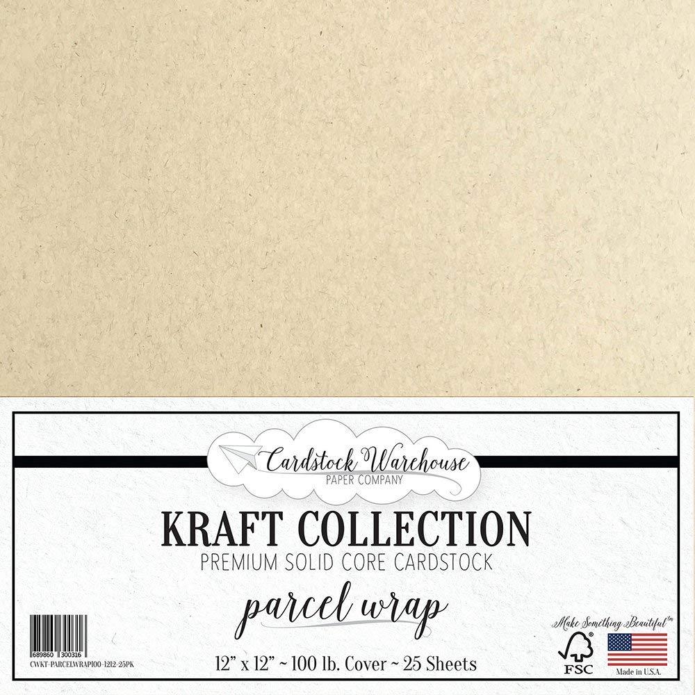 Parcel WRAP クラフト再生紙 - 12インチ x 12インチ - プレミアム100ポンド カバー - Cardstock Warehouse 25枚 B01KWU4Y5Y