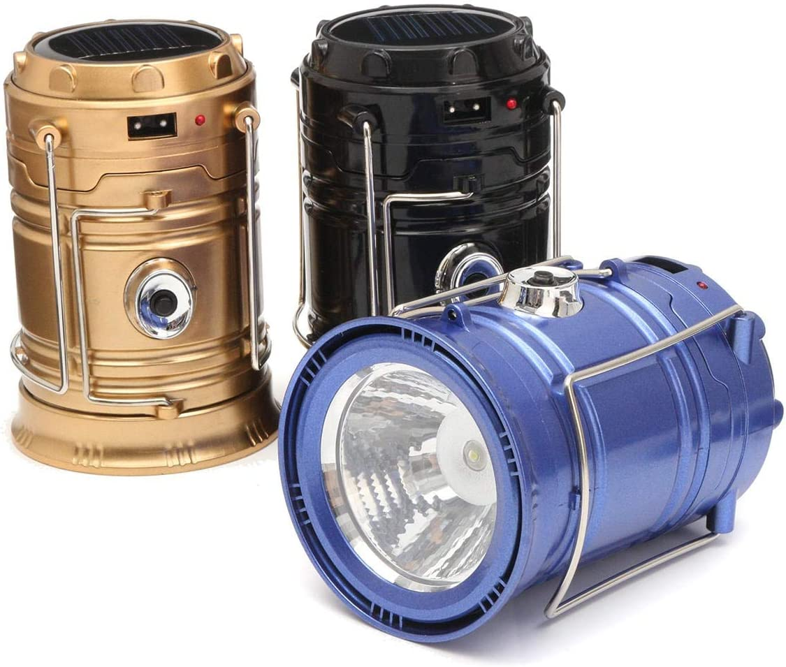 Camping Torch 30 LED Camping Light Portable Collapsible Hiking Night Lights Flashlight (Color : Blue) Gold