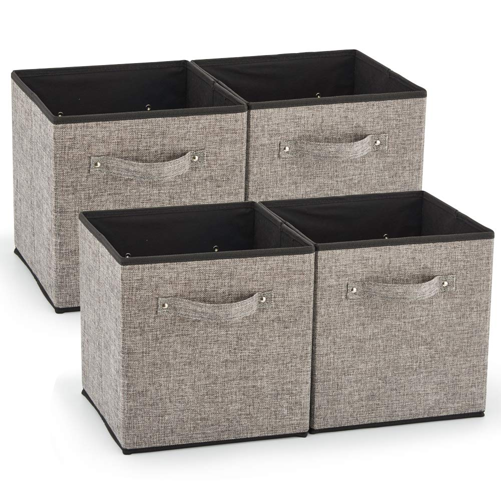 EZOWare 4 Pack Fabric Foldable Cubes Bin Organizer Container with Handles (10.5 x 10.5 x 11 inch) for Drawer, Nursery, Closet, Office, Home - Gray by EZOWare