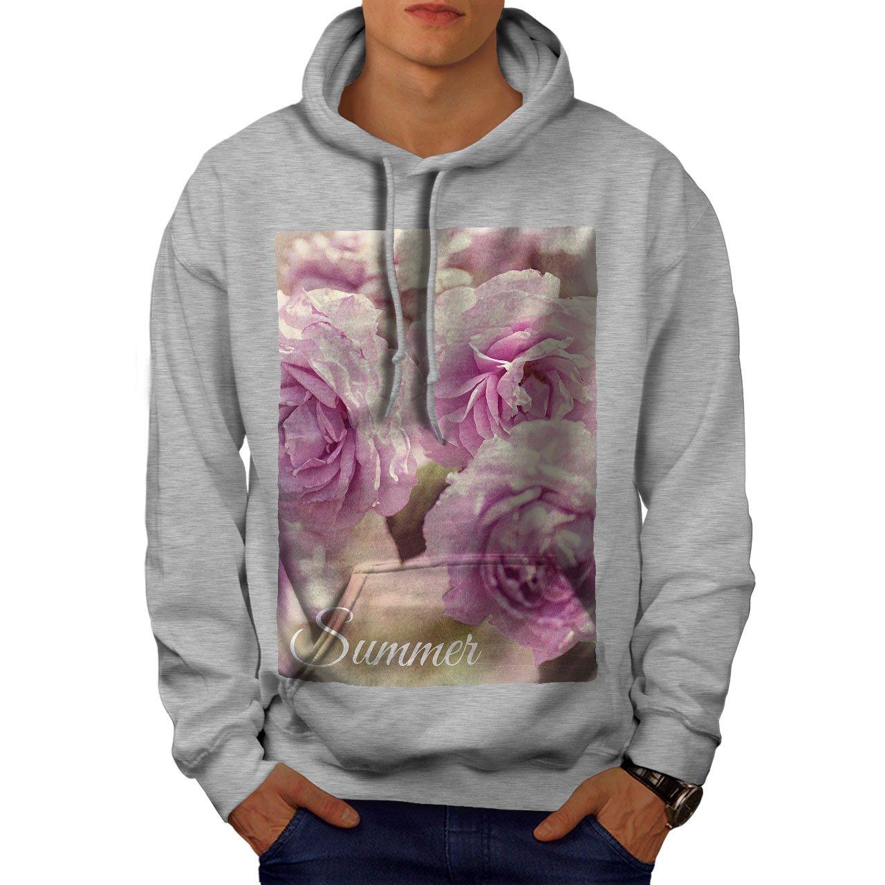 Nature Hooded Sweatshirt wellcoda Summer Rose Flower Mens Hoodie