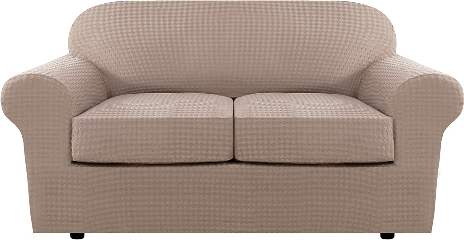 3 Piece Stretch Sofa Covers Couch Covers Loveseat Slipcovers Form Fit Furniture Covers (Base Cover Plus 2 Individual Cushion Covers) Feature Thicker Jacquard Fabric Washable (Loveseat, Sand)