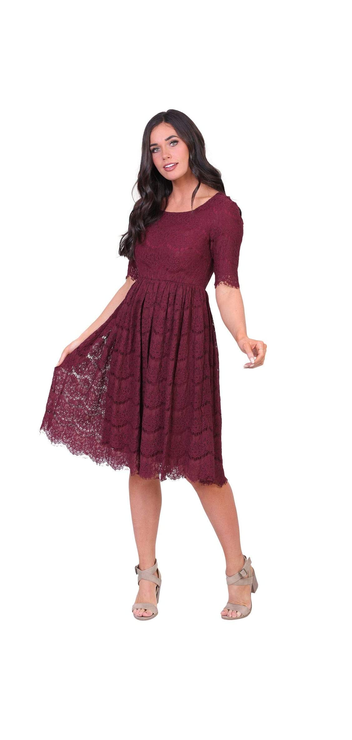 Women's Evelyn Modest Half-sleeve A-line Lace Dress