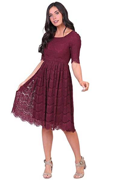 Mikarose Womens Evelyn Modest Half Sleeve A Line Lace Dress