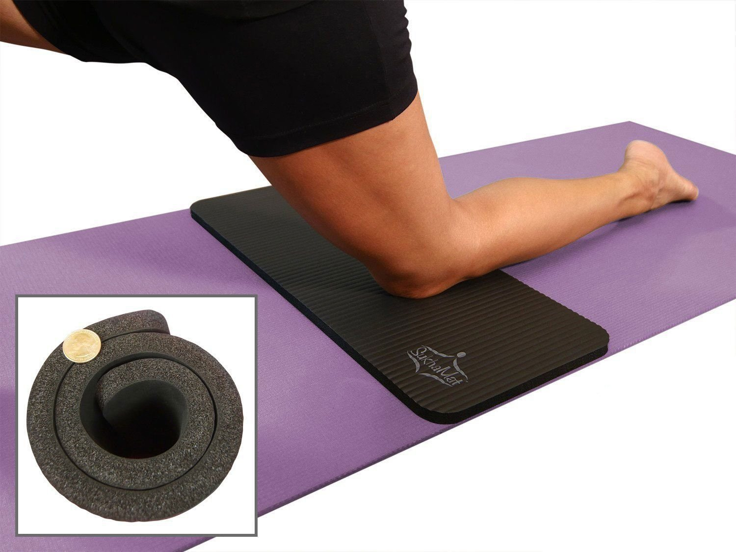 SukhaMat Yoga Knee Pad Cushion America s Best Exercise Knee Pad – Eliminate Pain During Yoga or Exercise – Extra Padding Support for Knees, Wrists, Elbows – Complements Your Yoga Mat