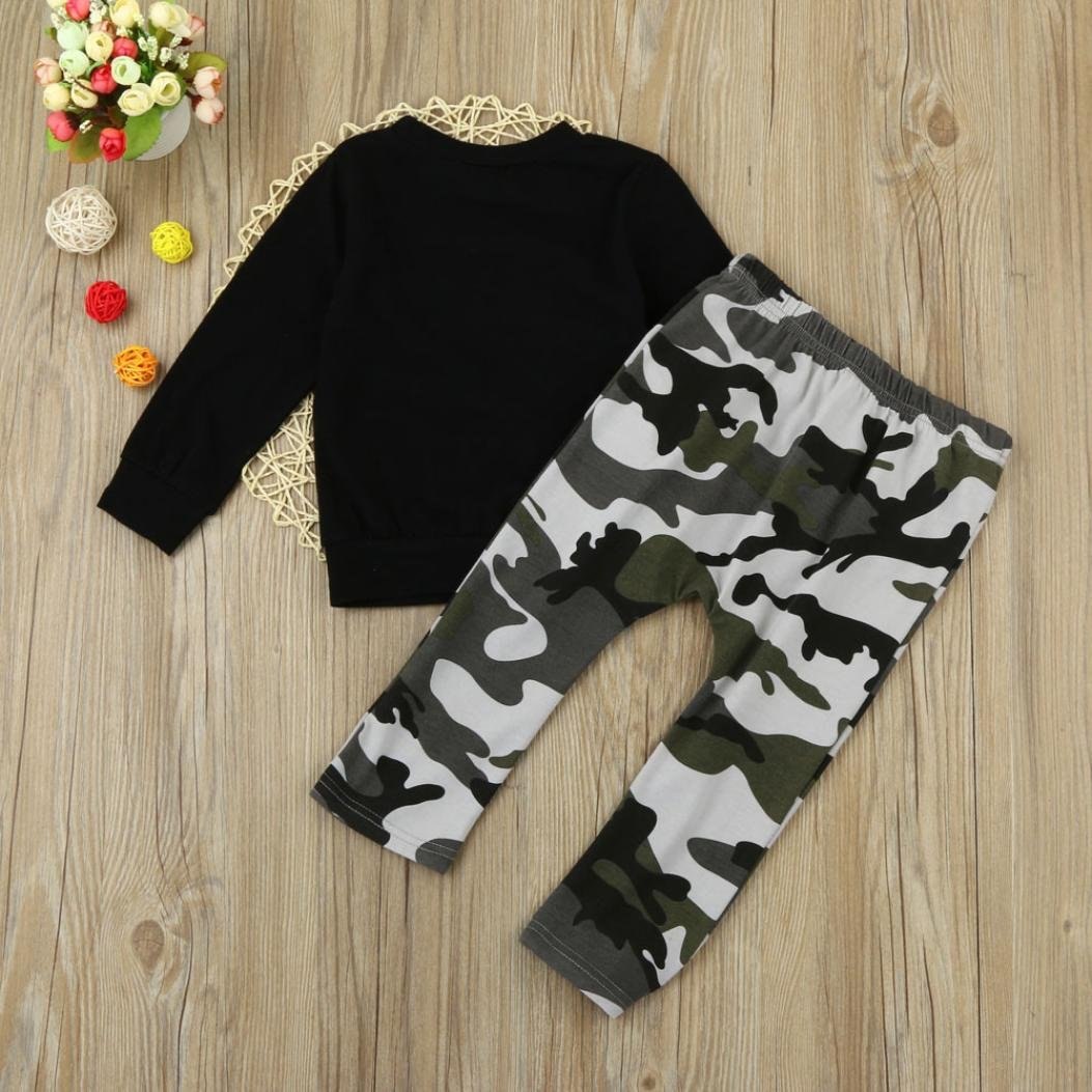 Sumen Baby Boy Letter T Shirt Tops+Camouflage Pants Outfits Clothes Set