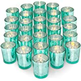 Letine 36pcs Votive Candle Holders for Party Decorations - Mercury Glass Teal Tealight Candle Holder for Wedding…